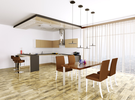 Interno Della Cucina Moderna Di Marrone Con Camino 3d Rendering ...