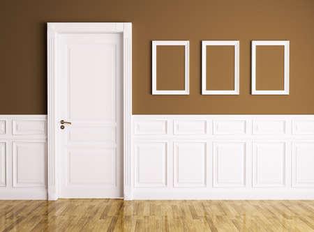 Interieur van een kamer met een klassieke deur en frames