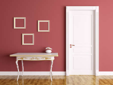 modern interieur: Klassieke interieur van een kamer met deur en tafel