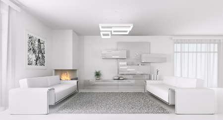 Innere des modernen weißen Wohnzimmer mit zwei Sofas 3d render