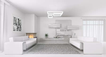 Interior of modern white living room with two sofas 3d render photo