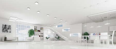 Innere des modernen weiß Wohnung Wohnzimmer Hall Panorama 3d render Lizenzfreie Bilder