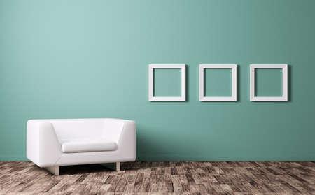 Modern interior with white armchair