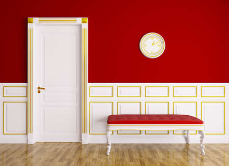entry: Classic red white interior with couch and door