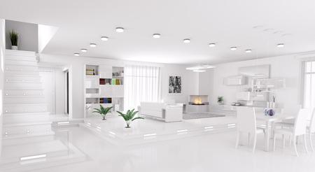Interieur van modern appartement woonkamer zaal panorama 3d render Stockfoto