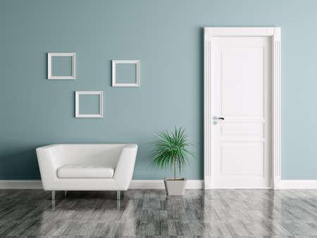 Interior de una habitación con puerta y sillón