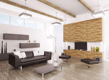plazma: Interior of modern living room 3d render