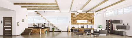 Interieur van modern appartement woon eetkamer hal panorama 3d render