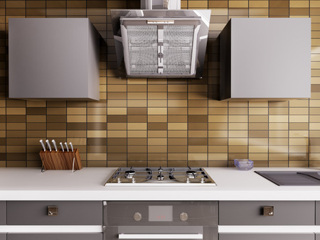 Modern kitchen with gas stoove and hood interior 3d