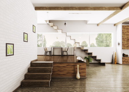 stairs interior: Interior of modern apartment dining room 3d render