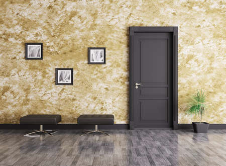 stucco house: Interior of a room with door and seats Stock Photo