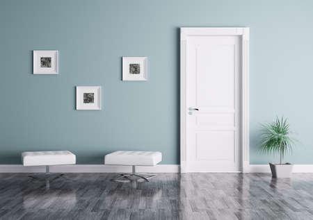 Interieur van een kamer met deur en stoelen Stockfoto