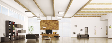 Interior of modern apartment living room hall panorama 3d render photo