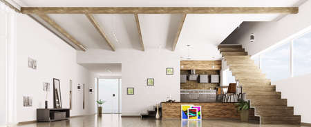 Interior of modern apartment hall kitchen panorama 3d render photo