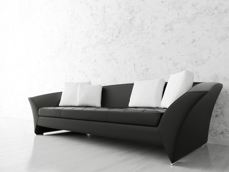Modern interior with black sofa over the stucco wall photo