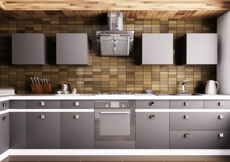 tiled stove: Modern kitchen with sink,gas cooktop and hood interior
