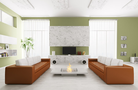 wooden ceiling: Interior of modern living room with two sofas and tv 3d render