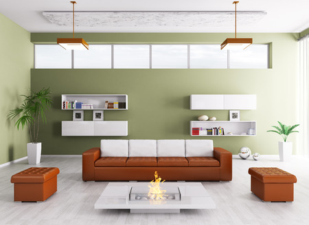 Interior of modern living room with sofa and fireplace 3d render Stock Photo - 26556662