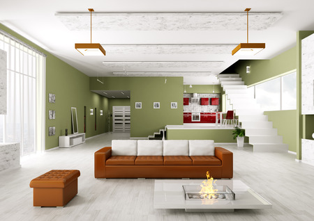Interior of modern apartment living room hall kitchen photo