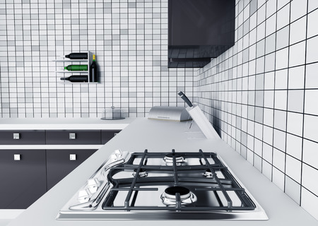 tiled stove: Modern kitchen worktop with gas stove interior 3d render