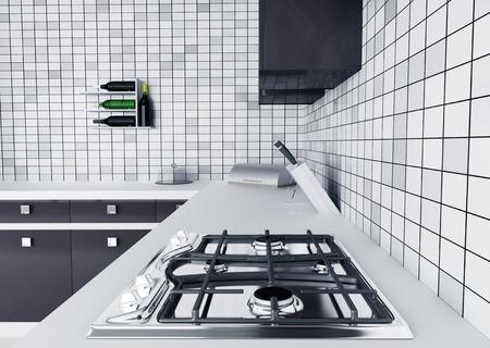 Modern kitchen worktop with gas stove interior 3d render photo