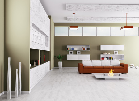 Interior of modern living room with sofa and fireplace 3d render photo