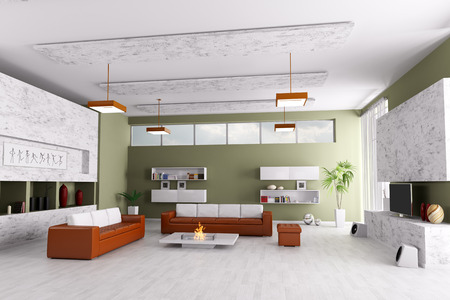 Interior Of Modern Living Room With Two Sofas And Fireplace Photo Part 98