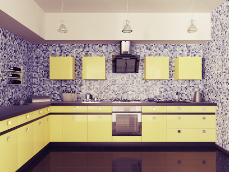 Modern kitchen with sink,gas cooktop and hood interior 3d photo