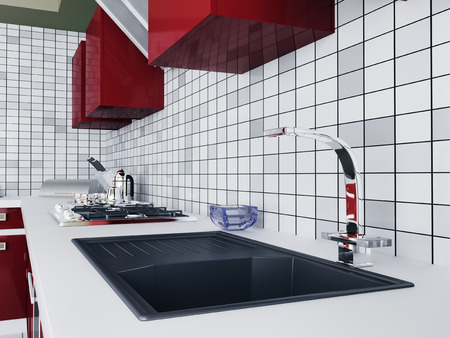 Interior of kitchen with faucet and sink photo
