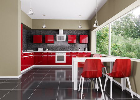 tiled stove: Interior of modern kitchen 3d render Stock Photo