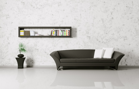 Modern interior of a room with sofa and bookshelf photo