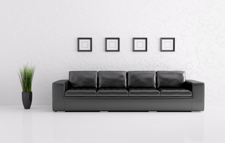 Modern interior of white room with black sofa 3d render photo