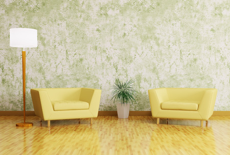 Modern interior with armchairs and floor lamp 3d render photo