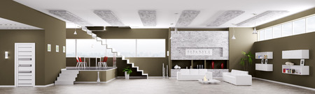 Interior of modern apartment living dining room hall  panorama 3d render photo