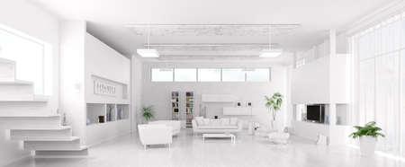 Innere des modernen weißen Wohnzimmer Panorama 3d render Lizenzfreie Bilder
