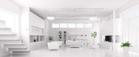 Interior of modern white living room panorama 3d render photo