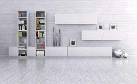 aparador: Interior de uma sala com aparador sobre a parede de tijolo 3d rendem