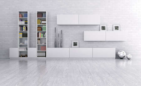 bookshelves: Interior of a room with sideboard over the brick wall 3d render