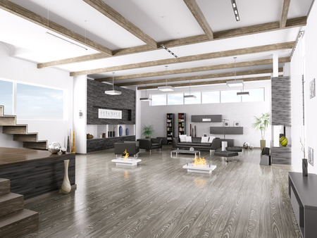wood floor: Interior of modern living room 3d render