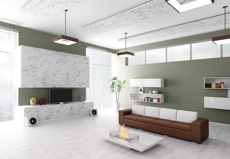 living apartment: Interior of modern living room 3d render