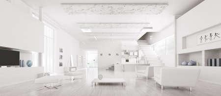 Interior of modern white apartment hall kitchen panorama 3d render photo