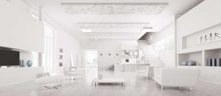 entrances: Interior of modern white apartment hall kitchen panorama 3d render