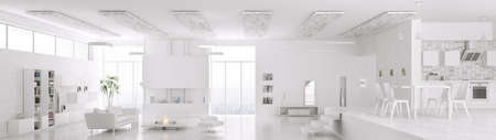 dining room table: Interior of modern white apartment living room hall kitchen panorama 3d render