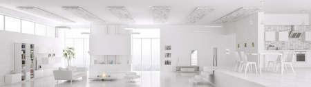 case moderne: Interno del moderno appartamento bianco soggiorno sala da pranzo cucina panorama 3d rendering