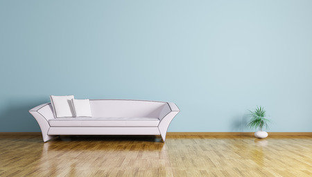 parquet flooring: Interior of living room with white sofa 3d render