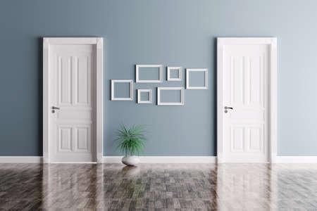 Interior de una habitación con dos puertas y marcos clásicos