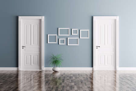 exit: Interior of a room with two classic doors and frames Stock Photo