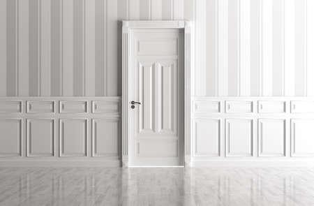 puerta: Interior de una habitaci�n blanca con puerta cl�sica