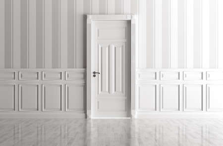 rendering: Interior of a white room with classic door