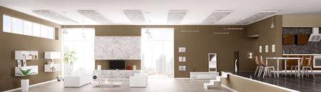 Inter van modern appartement woonkamer keuken hal panorama 3d render
